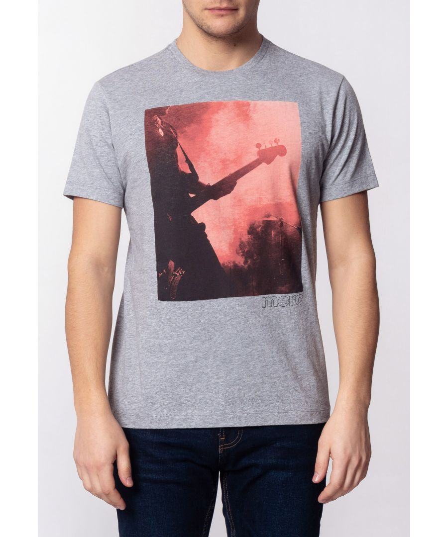 Image for Porter Mens Cotton T-Shirt With Large Music Poster Print In Grey Marl