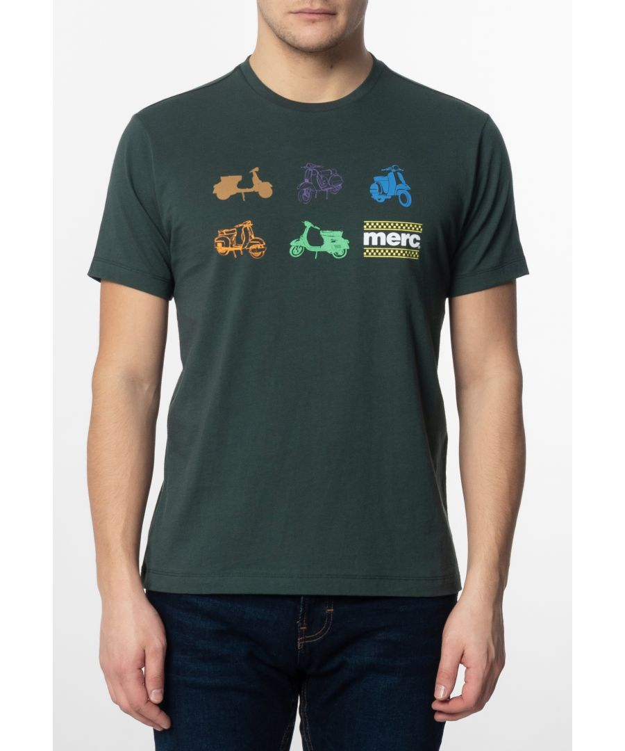 Image for Halford Mens Cotton T-Shirt With Small Scooters Icons Print In Bottle Green