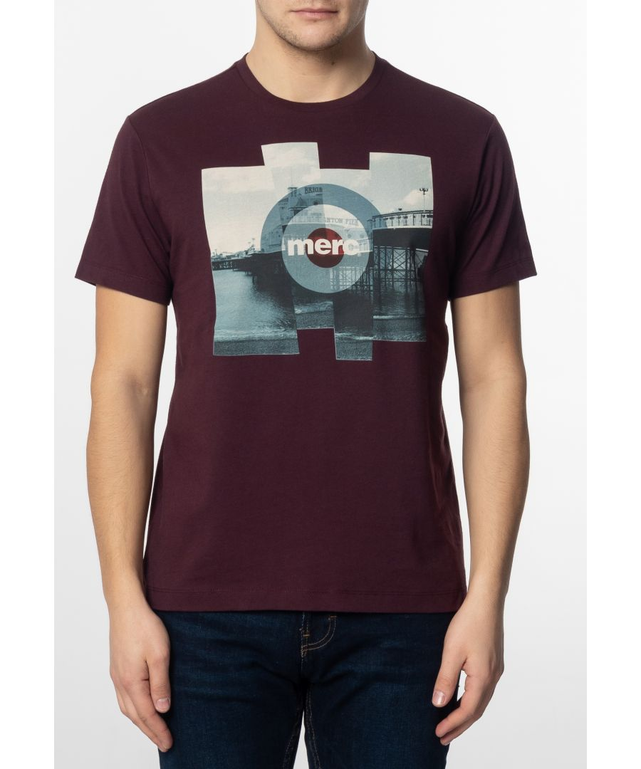 Image for Brett Mens Cotton T-Shirt With Pier Photo Print In Mahogany