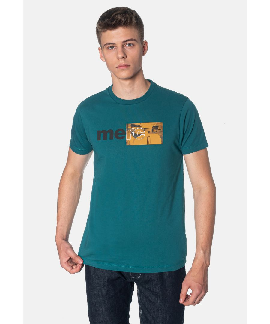 Image for Fanshaw Branded Print Men's T-Shirt With Scooter in Forest Green