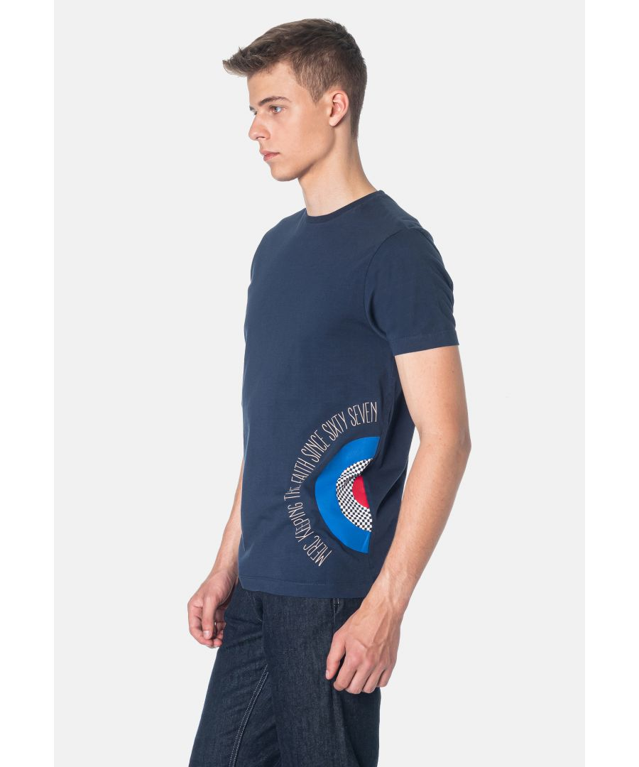 Image for Cavell Side Target Printed Men's T-Shirt in Dark Blue