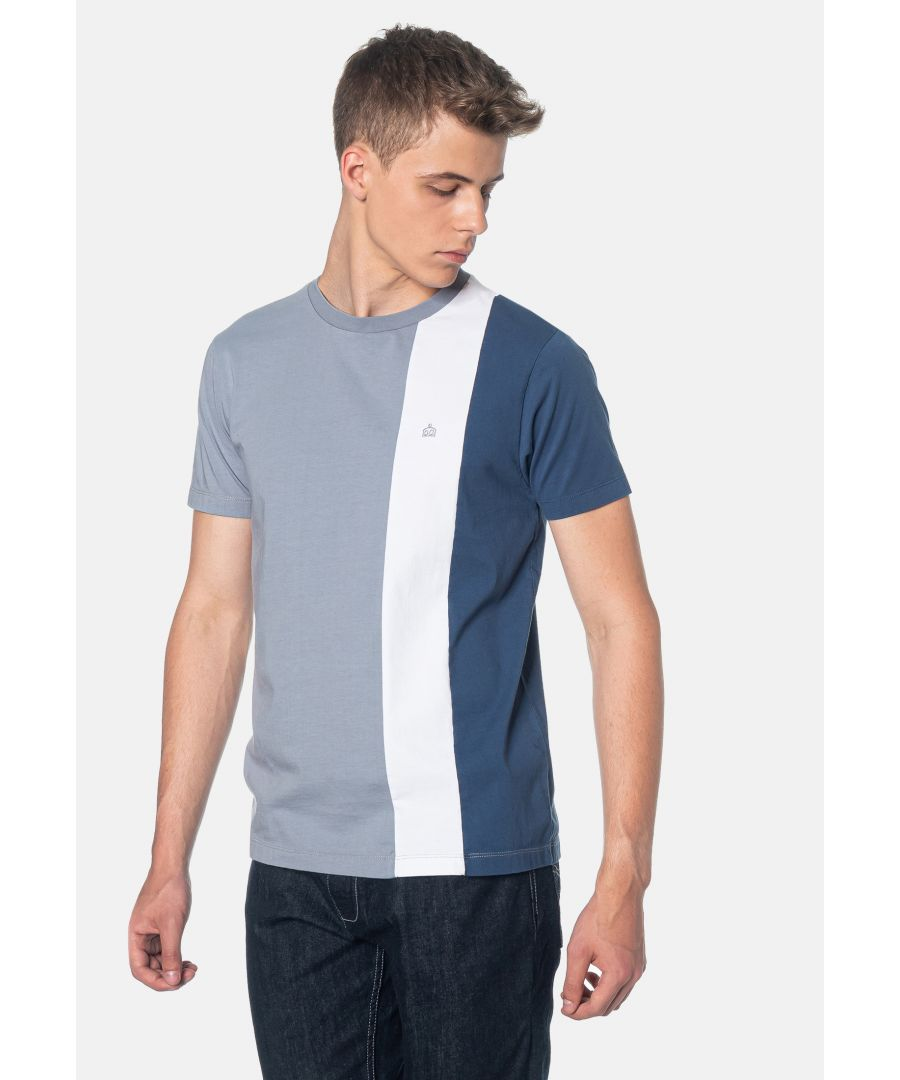 Image for Naples Colour Blocks Men's T-Shirt in Slate Blue