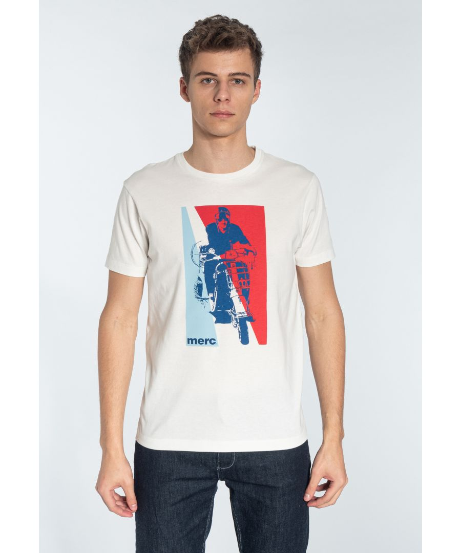 Image for GLYNDER, Men's Cotton T-Shirt with Scooter Print in Off White