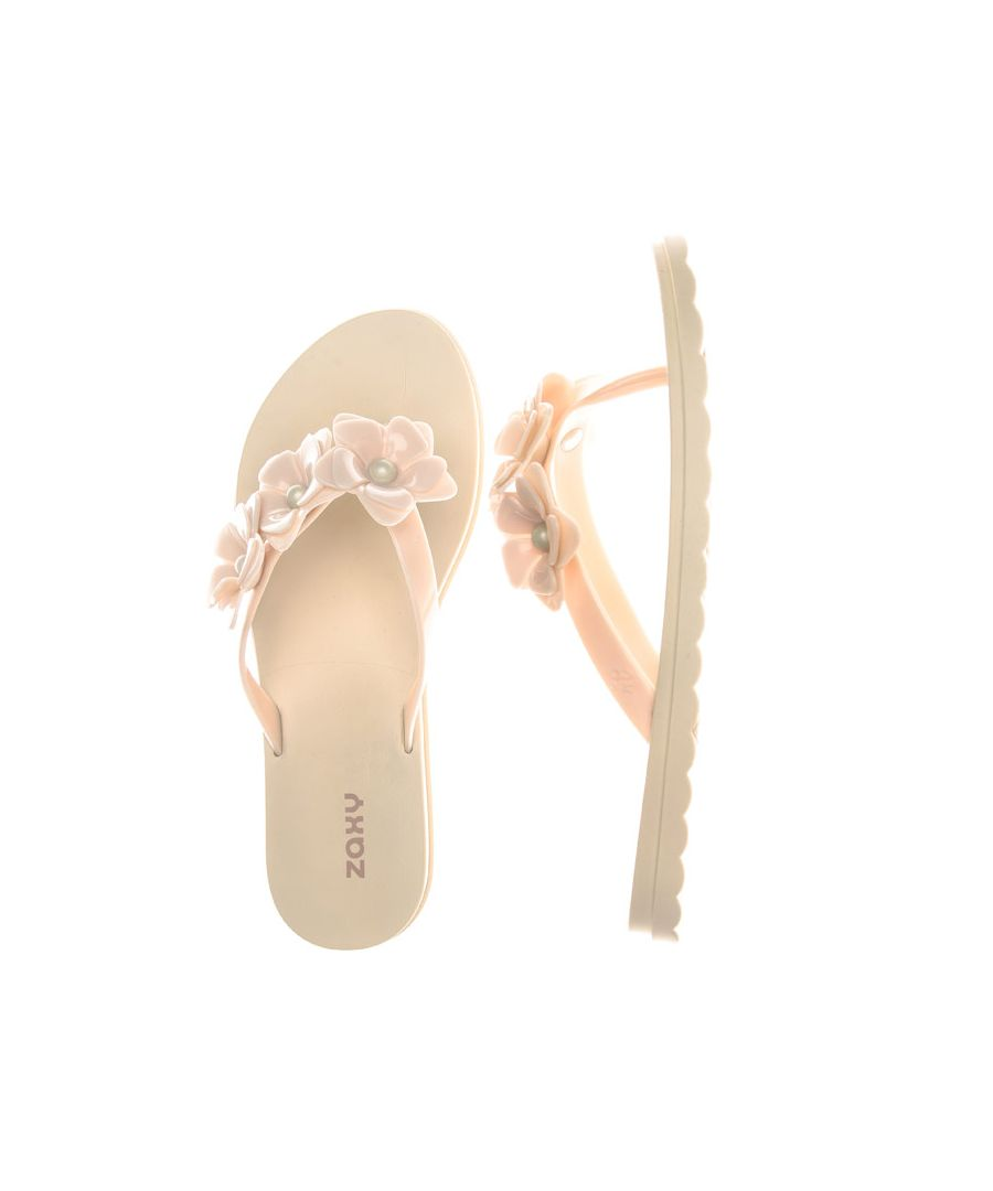 Image for Women's Zaxy Fresh Flower Flip Flops in Ivory