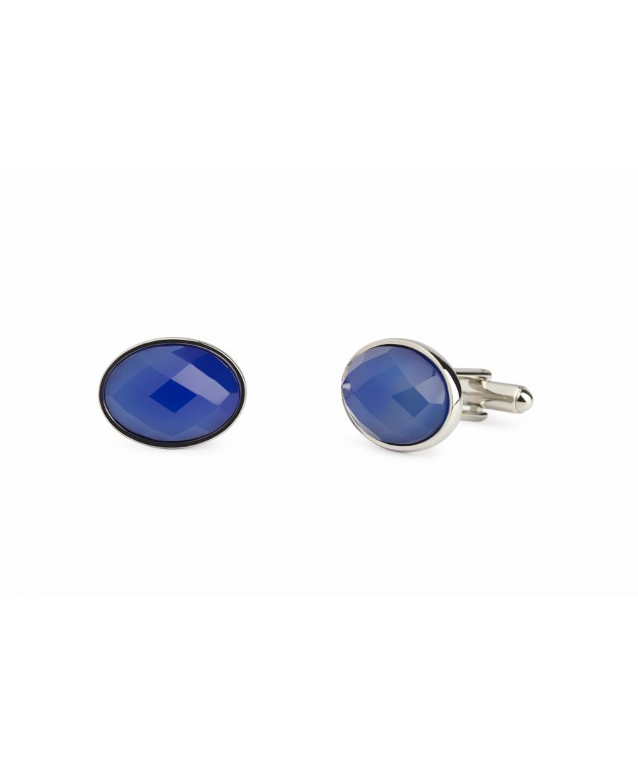 Image for Blue Agate Facetted Oval Cufflinks