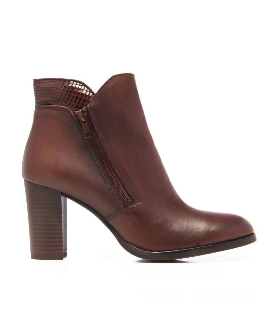 Image for Eva López Leather Ankle Boots Heel Brown Woman