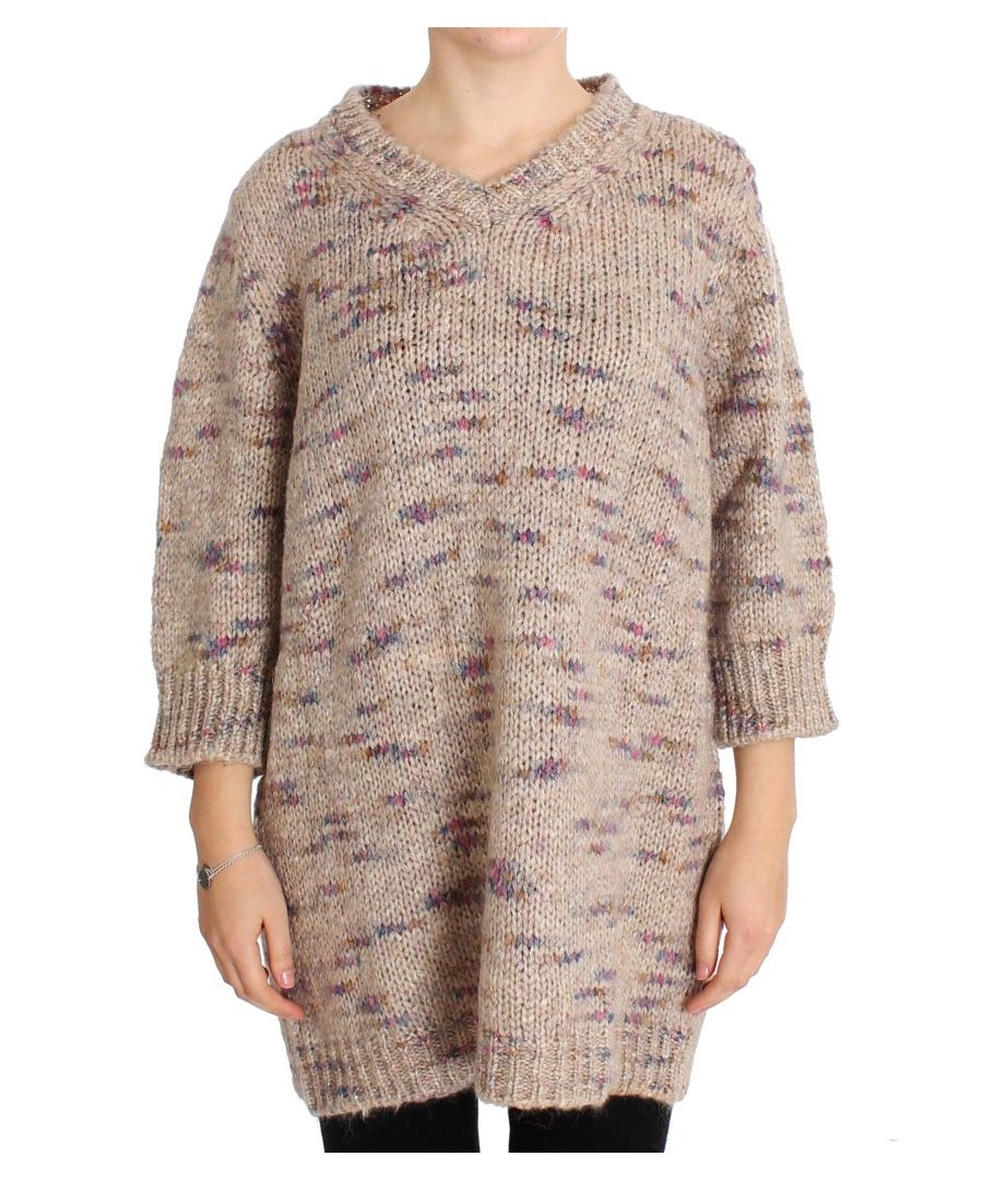 Image for PINK MEMORIES Beige Wool Blend Knitted Oversize Sweater