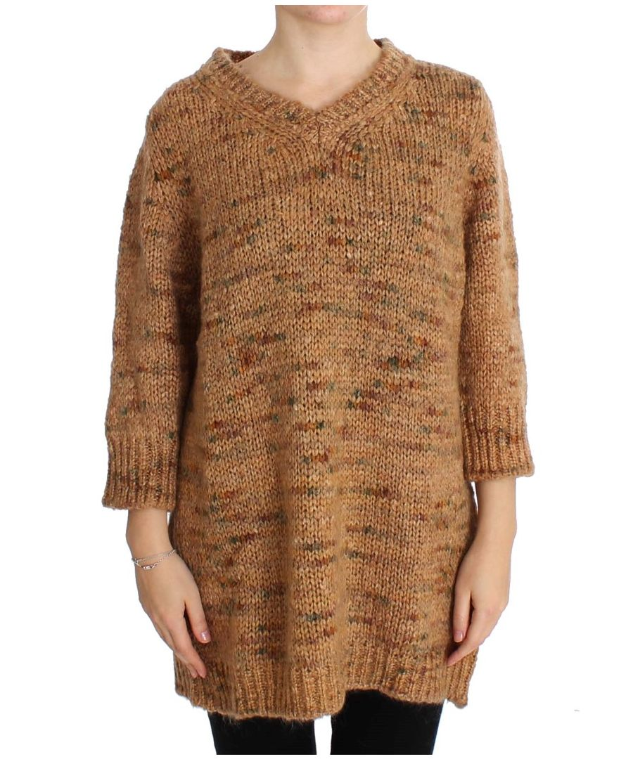 Image for PINK MEMORIES Brown Wool Blend Knitted Oversize Sweater