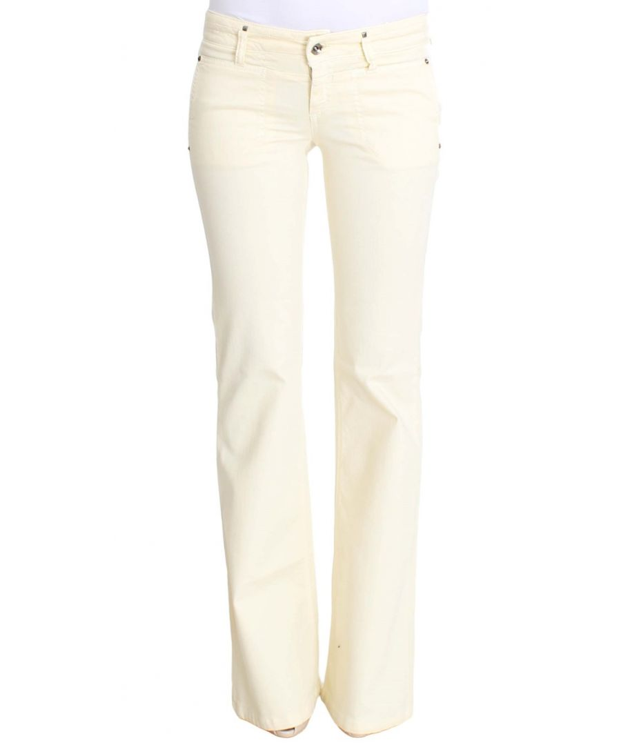 Image for Costume National White Cotton Stretch Flare Jeans