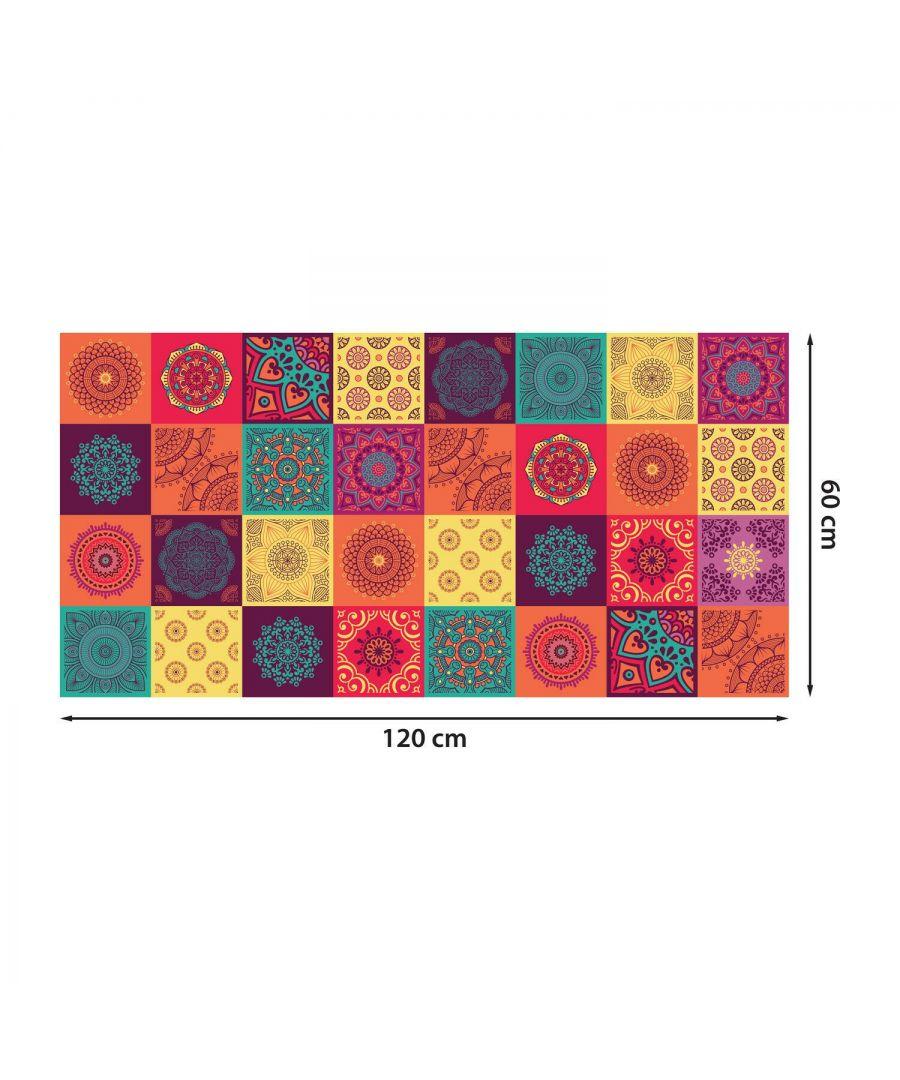 Image for WFS6009 - Colourful Mandala Tiles Floor Sticker 120cm x 60 cm
