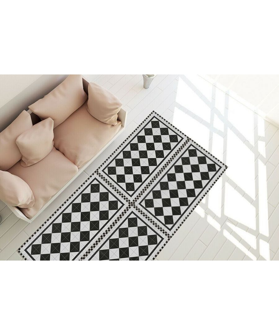 Image for Black Victorian Tile Design Mat 66 x 120 cm Floor Mats, Floor Rugs