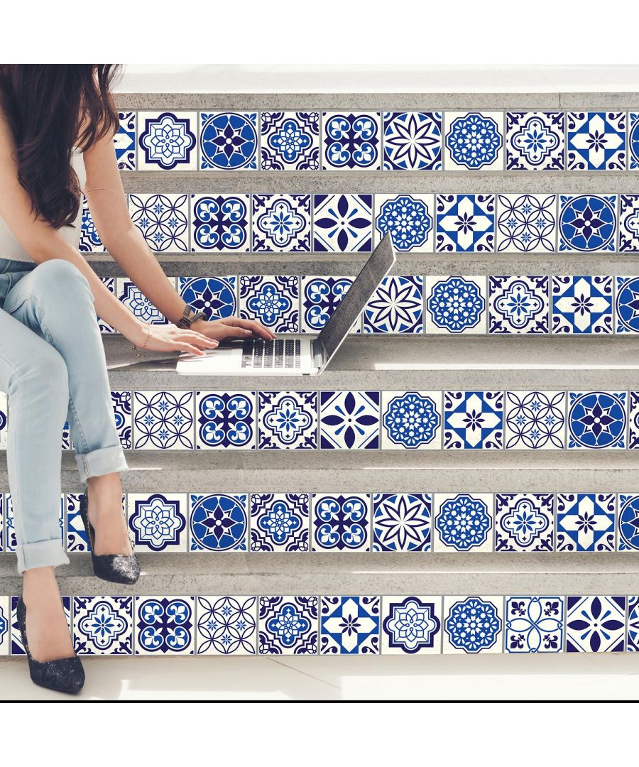Image for Spanish & Moroccan Blue Tiles Mix Wall Stickers - 15 cm  x 15 cm - 24 pcs. Tiles Wall Stickers, Kitchen, Bathroom, Living room