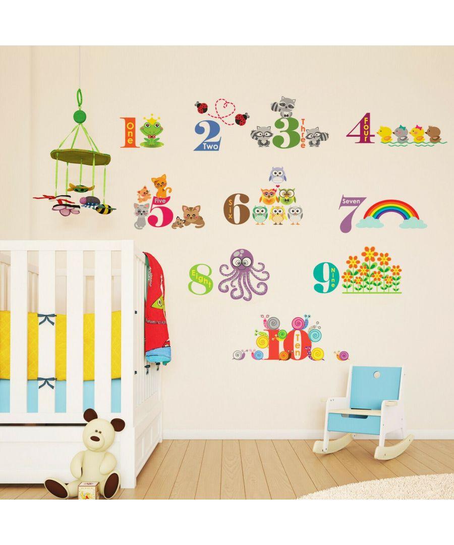 Image for Animals Numbering II Self Adhesive DIY Wall Stickers Kids Room, nursery, children's room, boy, girl