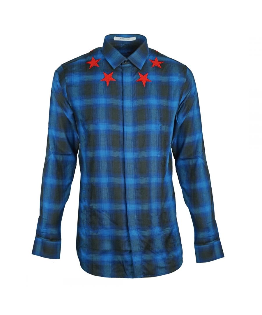 Image for Givenchy Blue Check Star Detail Shirt