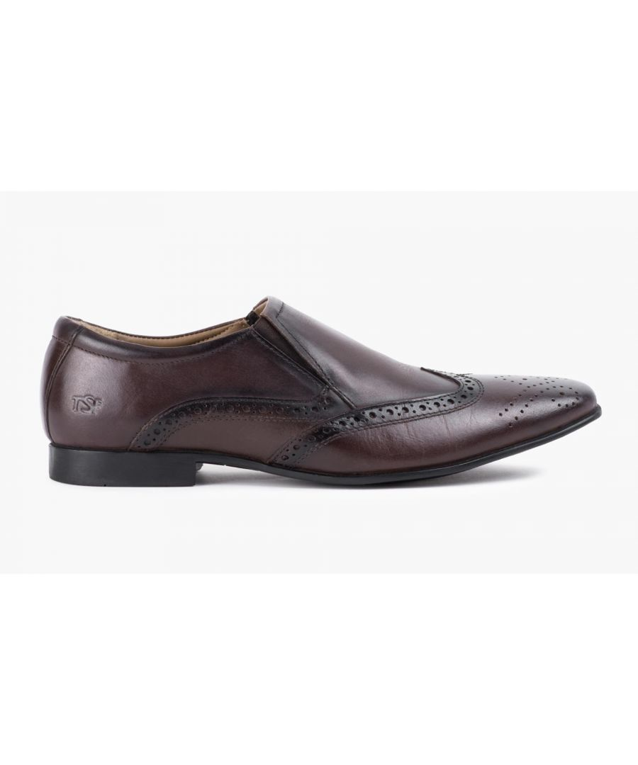 Image for Redfoot Mens Brown Slip On Shoe With Brogue Detail