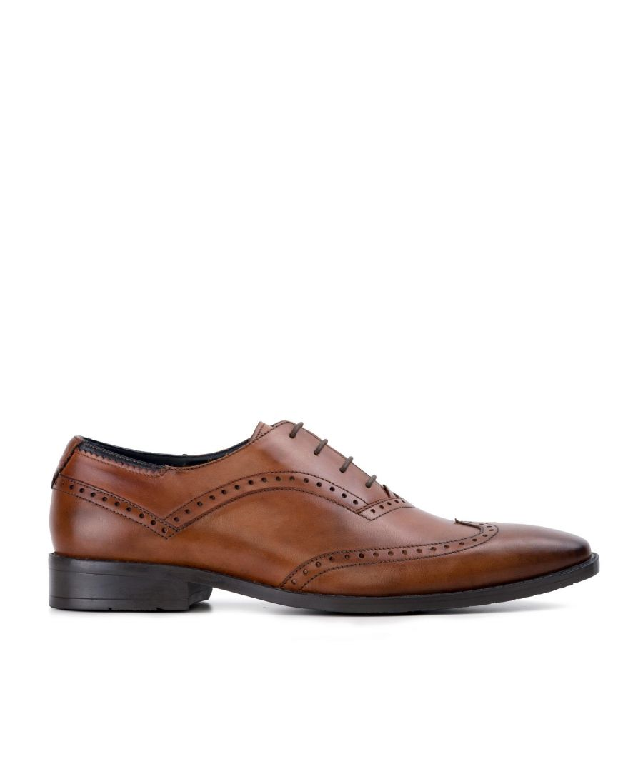 Image for Goodwin Smith Albany Tan Winged Toe Oxford Leather Shoe