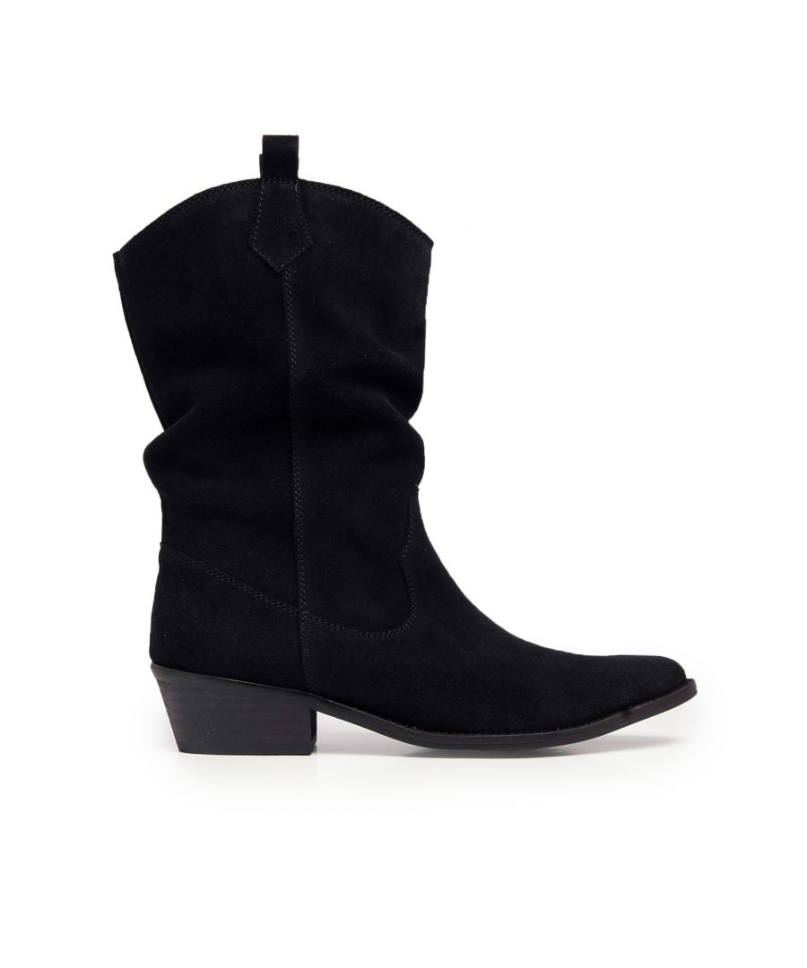Image for Eva Lopez Leather Grey Boots Women Cowboy Heel