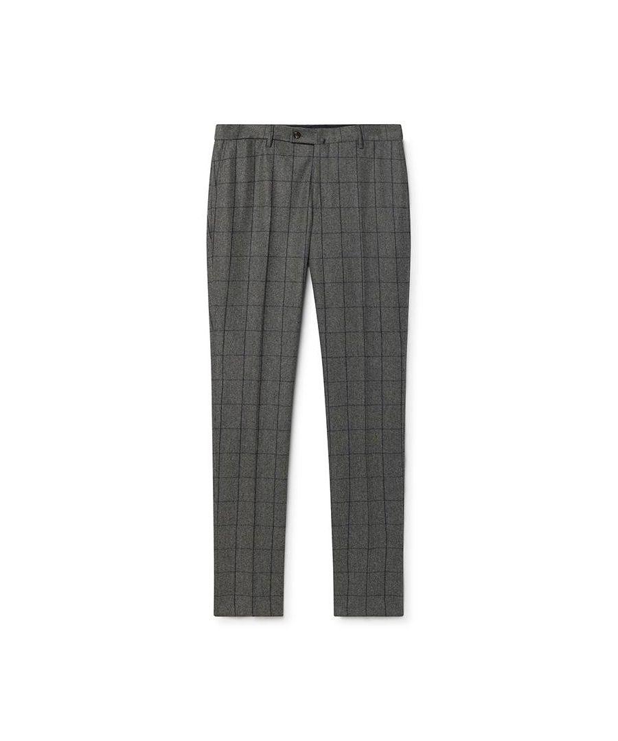 Image for Men's Hackett, Flannel Windowpane Trousers in Grey & Blue
