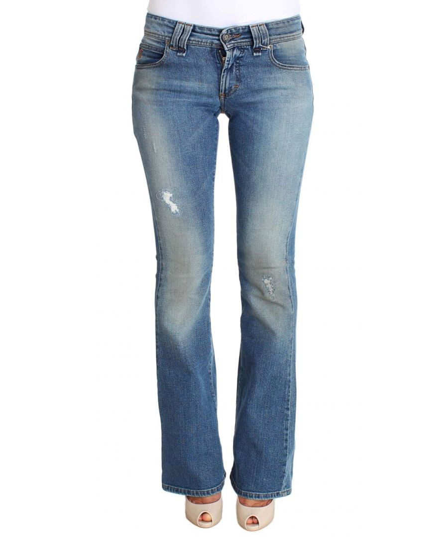 Image for Galliano Blue Wash Cotton Stretch Flare Bootcut Jeans