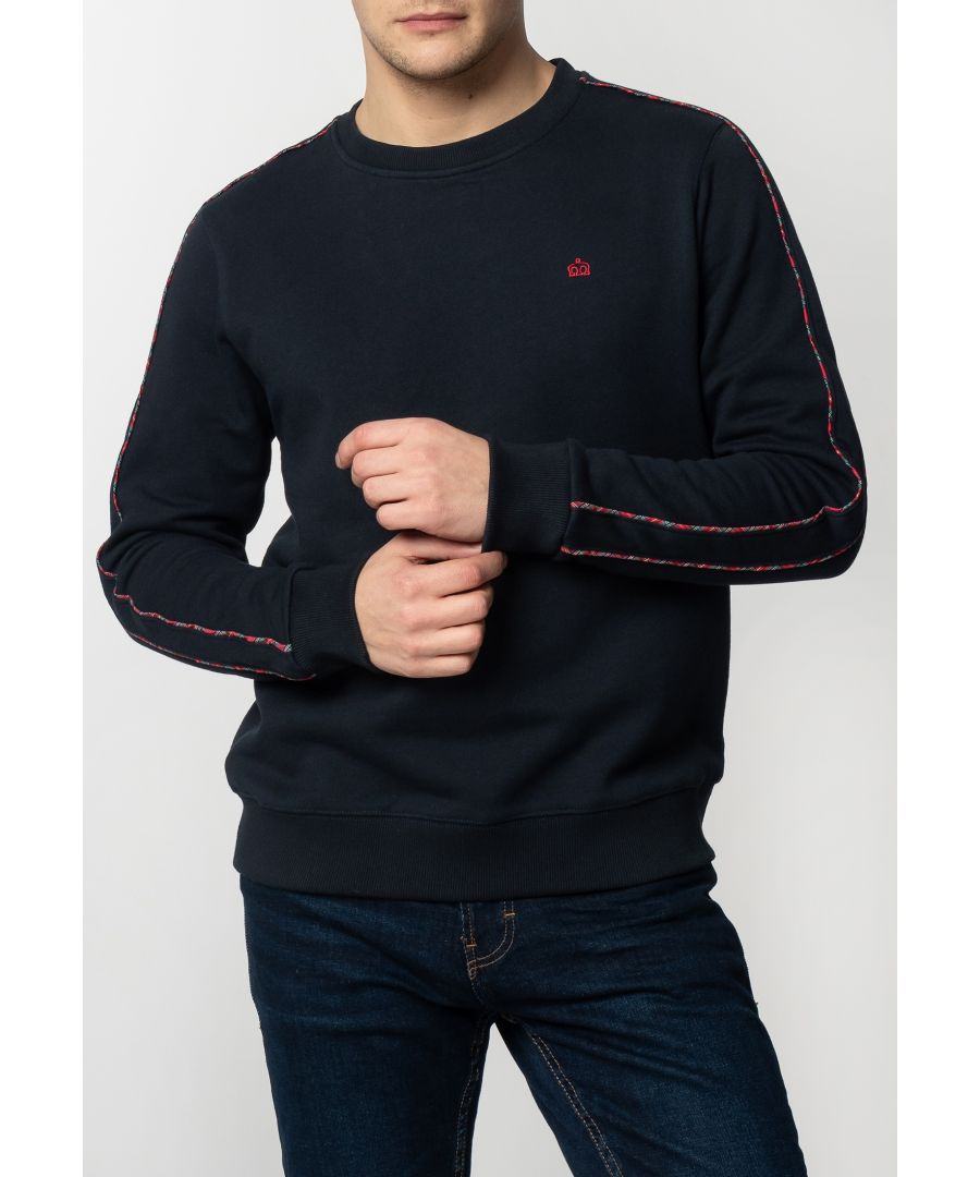 Image for Norbury Mens Basic Sweatshirt With Tartan Piping Details In Navy