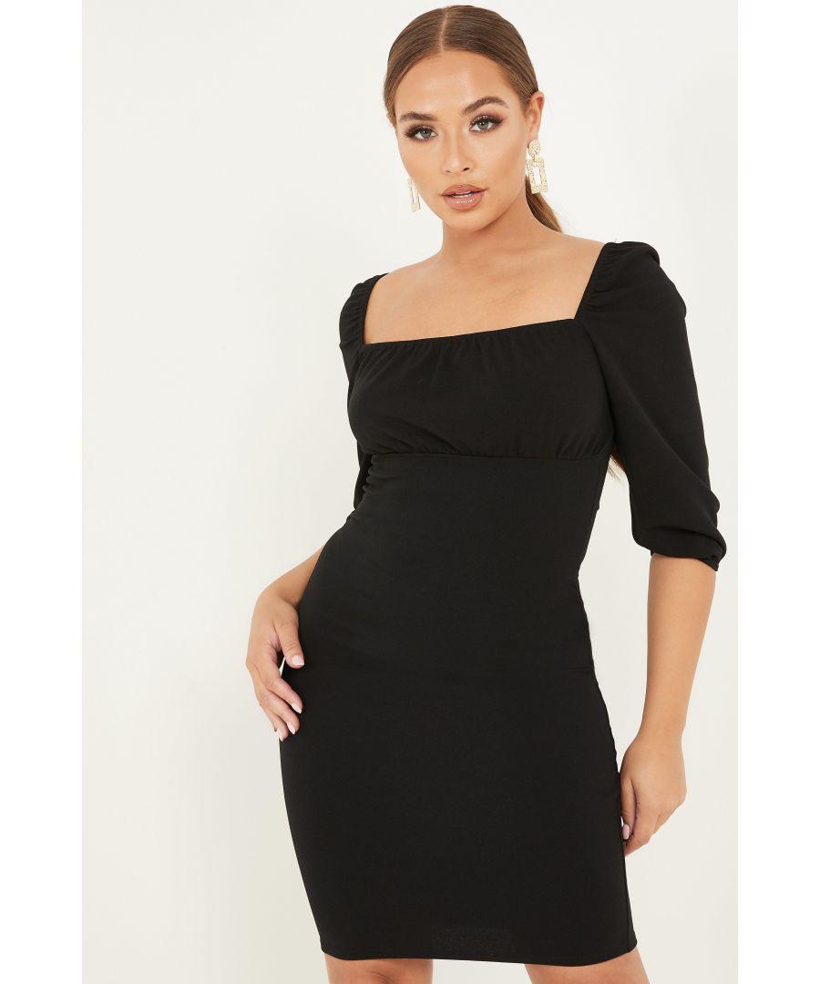 Image for Petite Black Ruched Bodycon Midi Dress