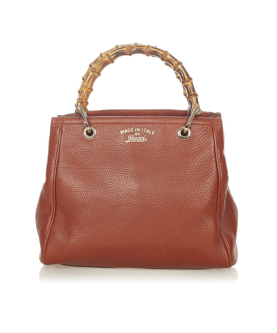 Image for Vintage Gucci Bamboo Shopper Leather Satchel Brown