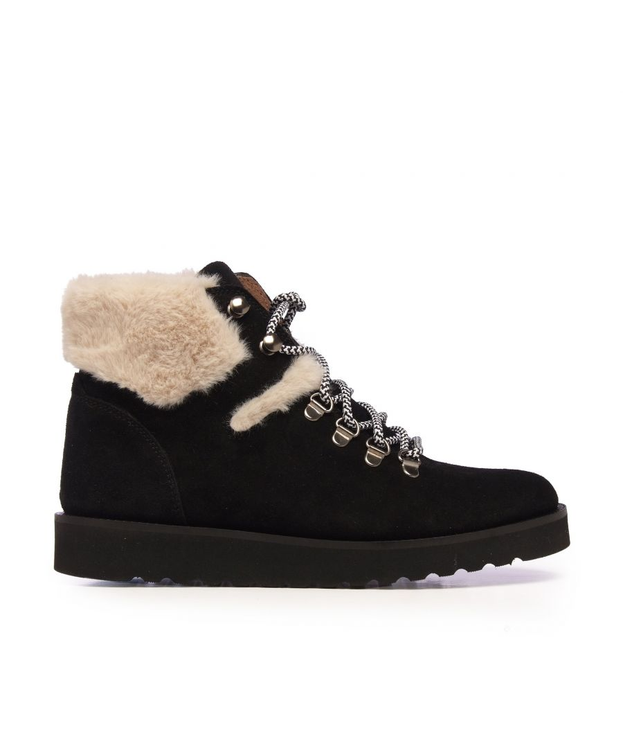 Image for María Barceló Trekking Black Leather Ankle Boots Women Laces