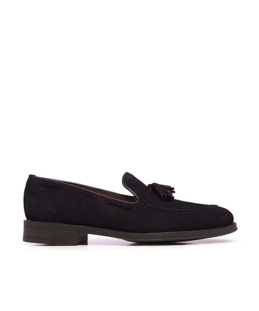 Image for Castellanisimos Leather Moccasin Tassel Navy Blue Loafers Classic Shoes