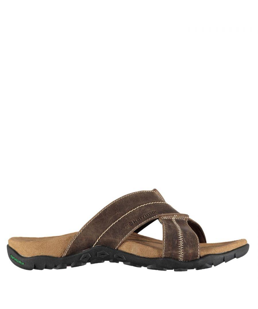 Image for Karrimor Mens Lounge Slide Sandals Summer Shoes Leather Walking Footwear