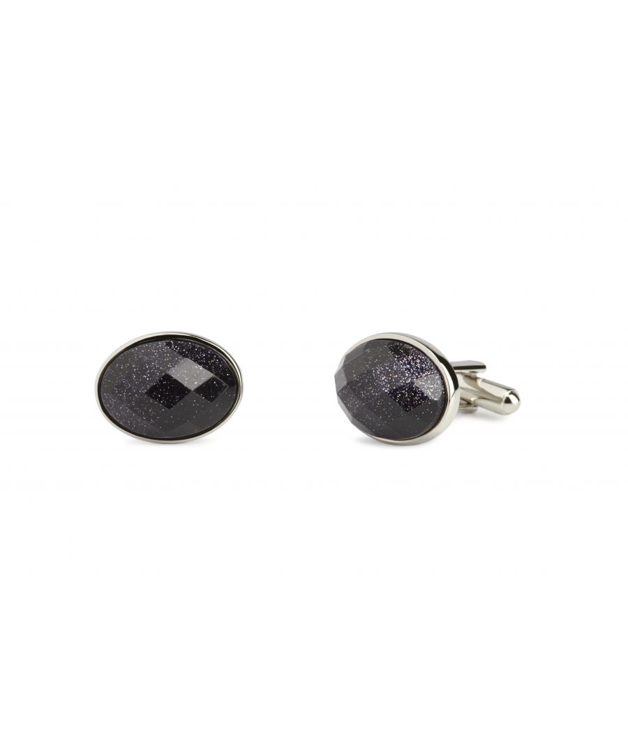 Image for Blue Goldstone facet Oval Cufflinks