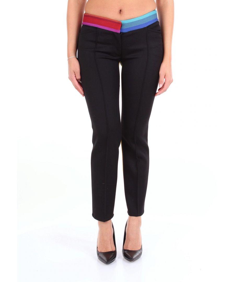 Image for MARCO DE VINCENZO WOMEN'S MR5086A515BLACKMULTICOLO BLACK FABRIC PANTS