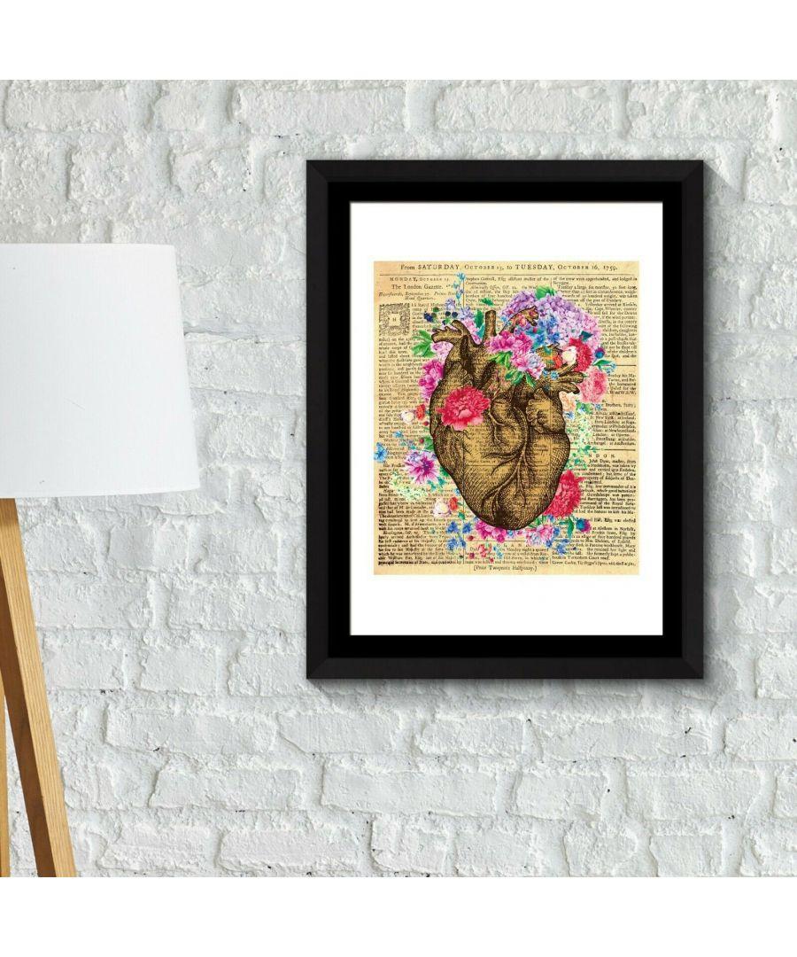 Image for Walplus Framed Art 2in1 Flowery Heart Poster wall decal, wall decal flowers, Framed Photo, Framed Art