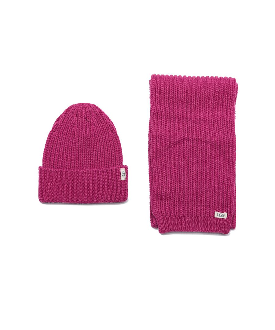 Image for Accessories Ugg Australia Rib Knit Hat & Scarf Set in Pink