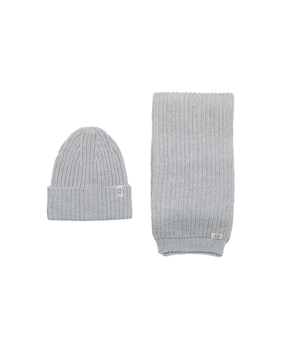 Image for Accessories Ugg Australia Rib Knit Hat & Scarf Set in Grey