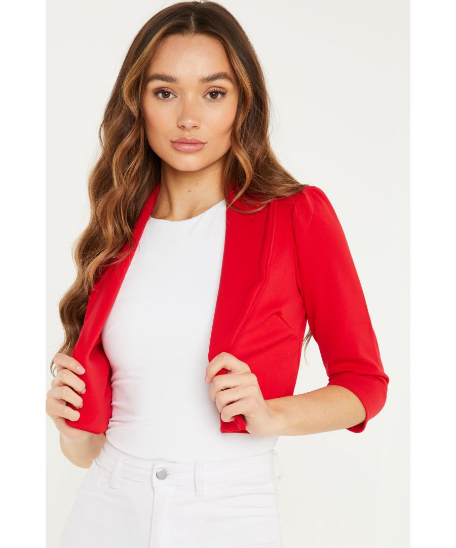 Image for Red Puff Sleeve Cropped Jacket