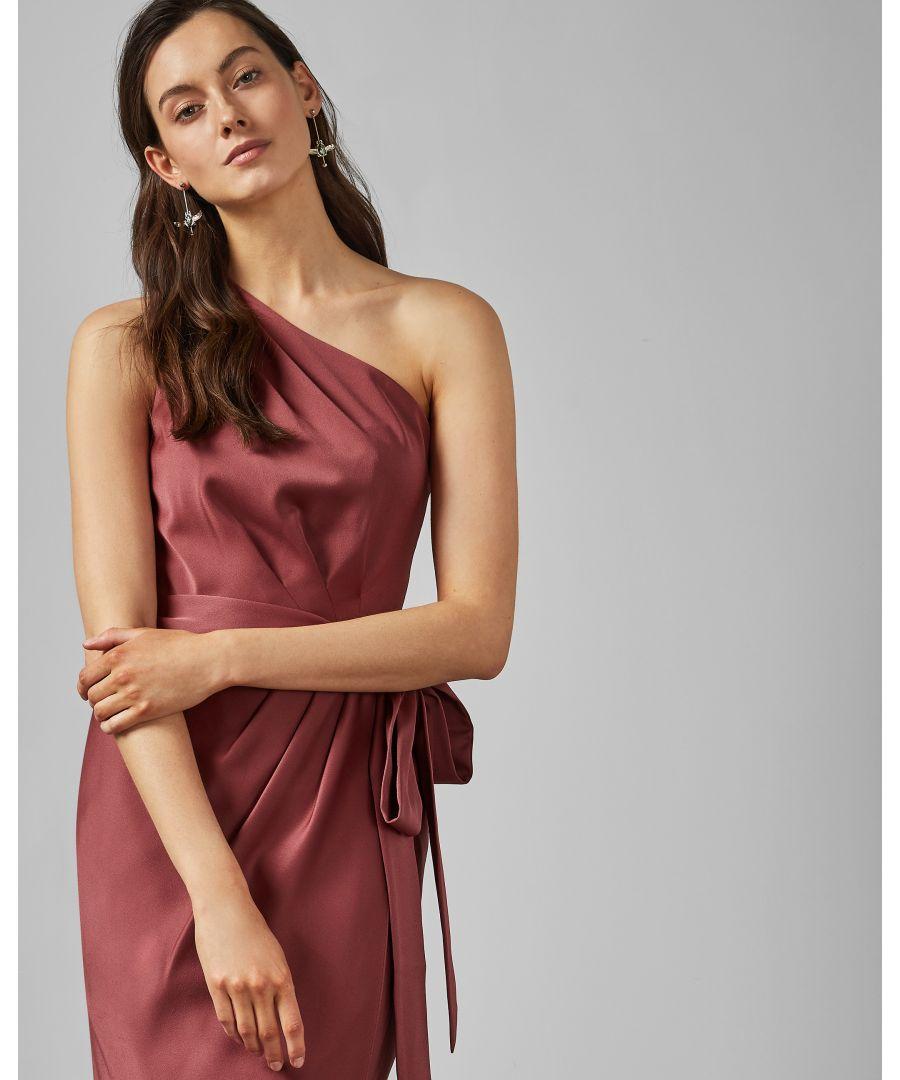 Image for Ted Baker Gabie One Shoulder Drape Midi Dress, Mid Pink