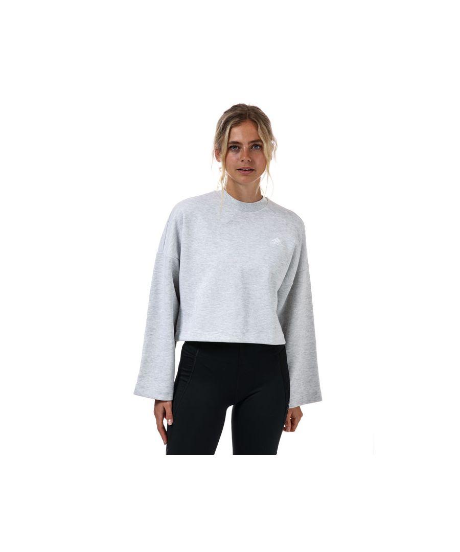 Image for Women's adidas 3-Stripes Doubleknit Sweatshirt in Light Grey