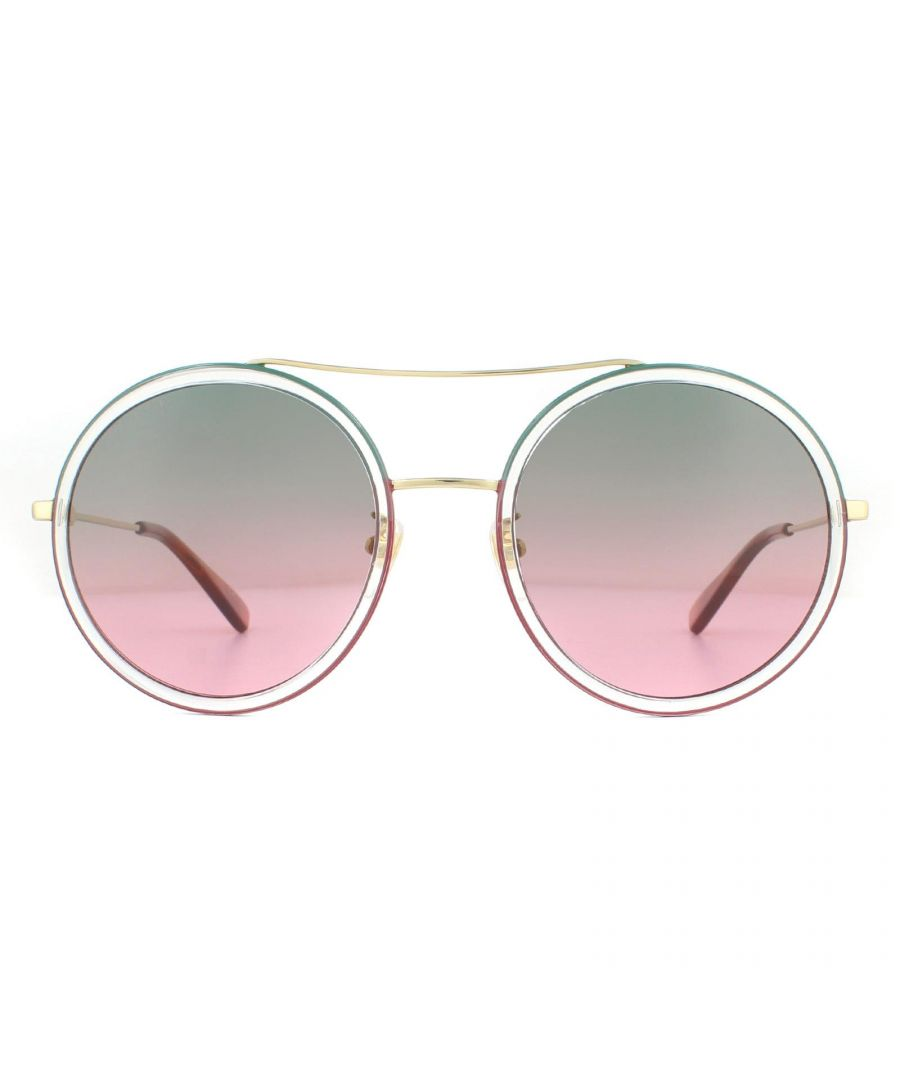 Image for Gucci Sunglasses GG0061S 022 Gold Green and Red Green to Red Gradient