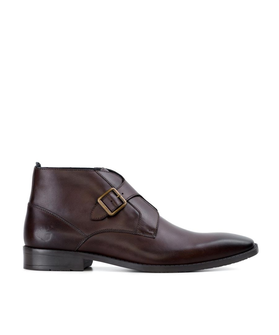 Image for Goodwin Smith Logan Brown Leather Monk Strap Ankle Boot