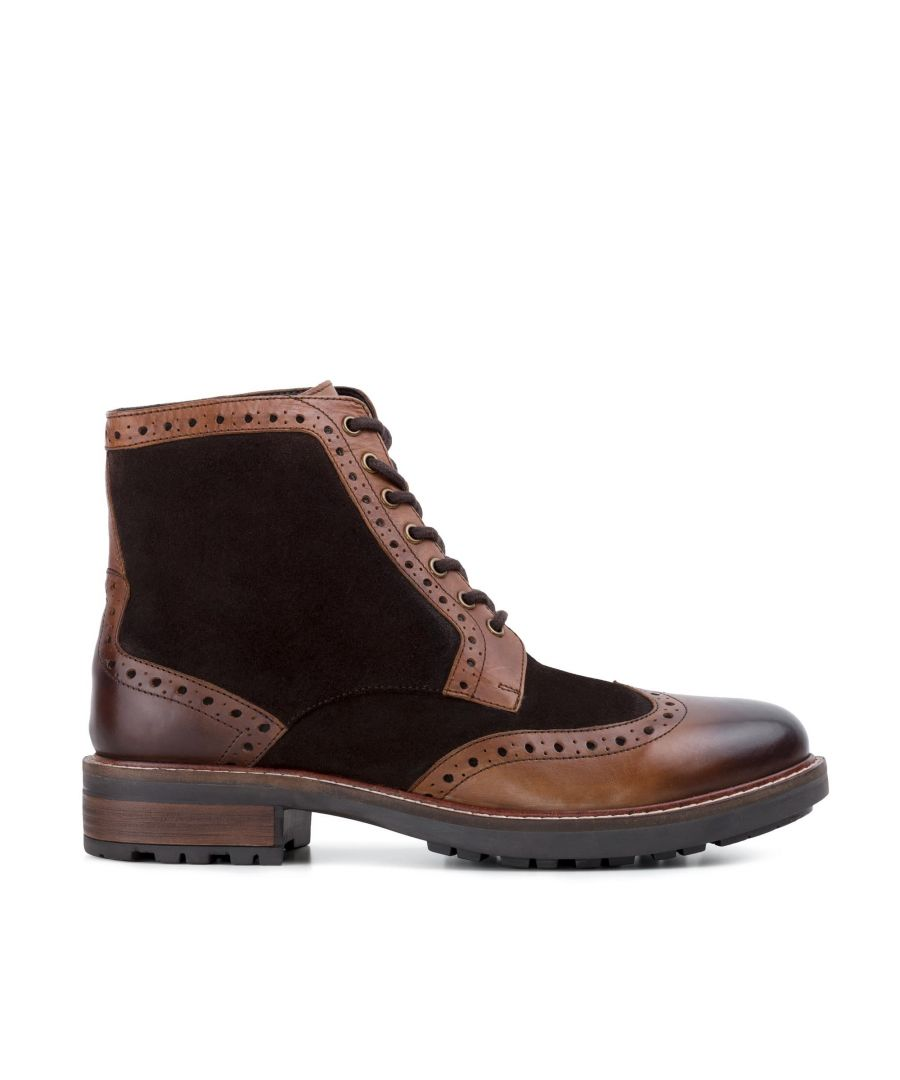 Image for Redfoot Mens Redfoot Cooper Brown Leather Suede Boot