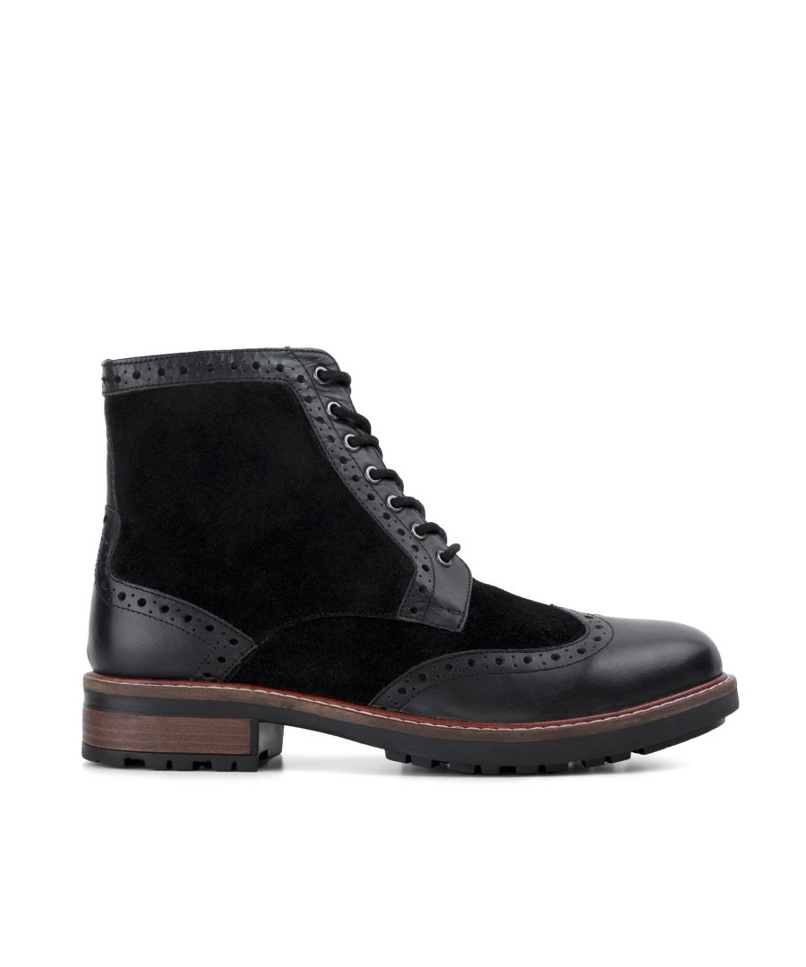 Image for Redfoot Mens Redfoot Cooper Black Leather Suede Boot
