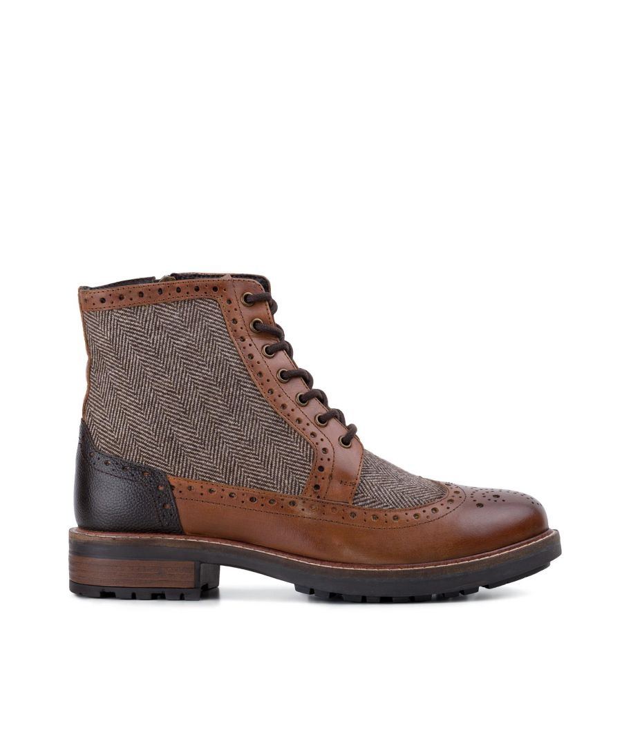 Image for Redfoot Mens Redfoot Gray Tan Leather Twill Boot