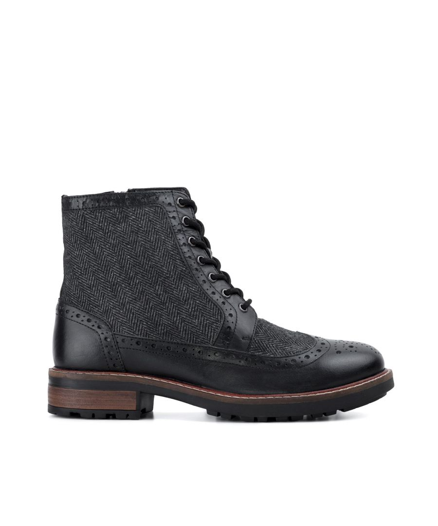 Image for Redfoot Mens Redfoot Gray Black Leather Twill Boot