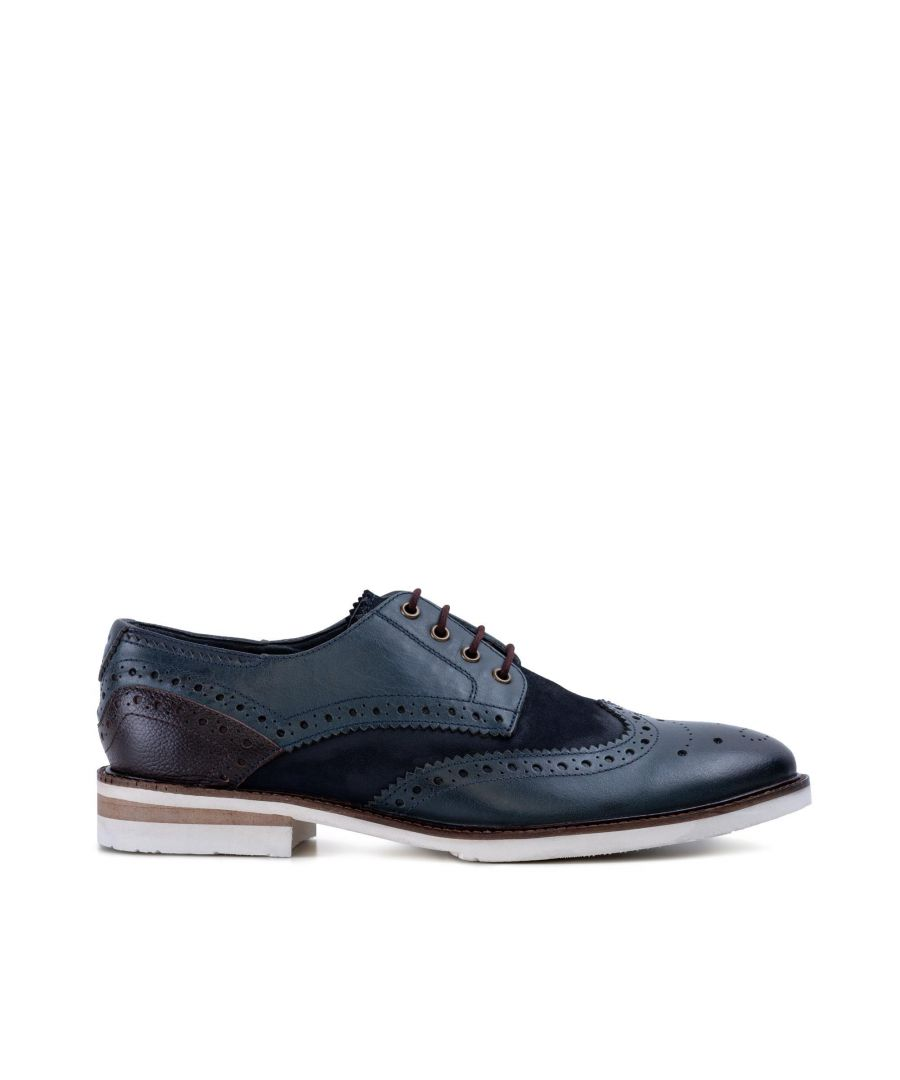 Image for Goodwin Smith Mens Gs Lorenzo Navy Brown Derby Brogue