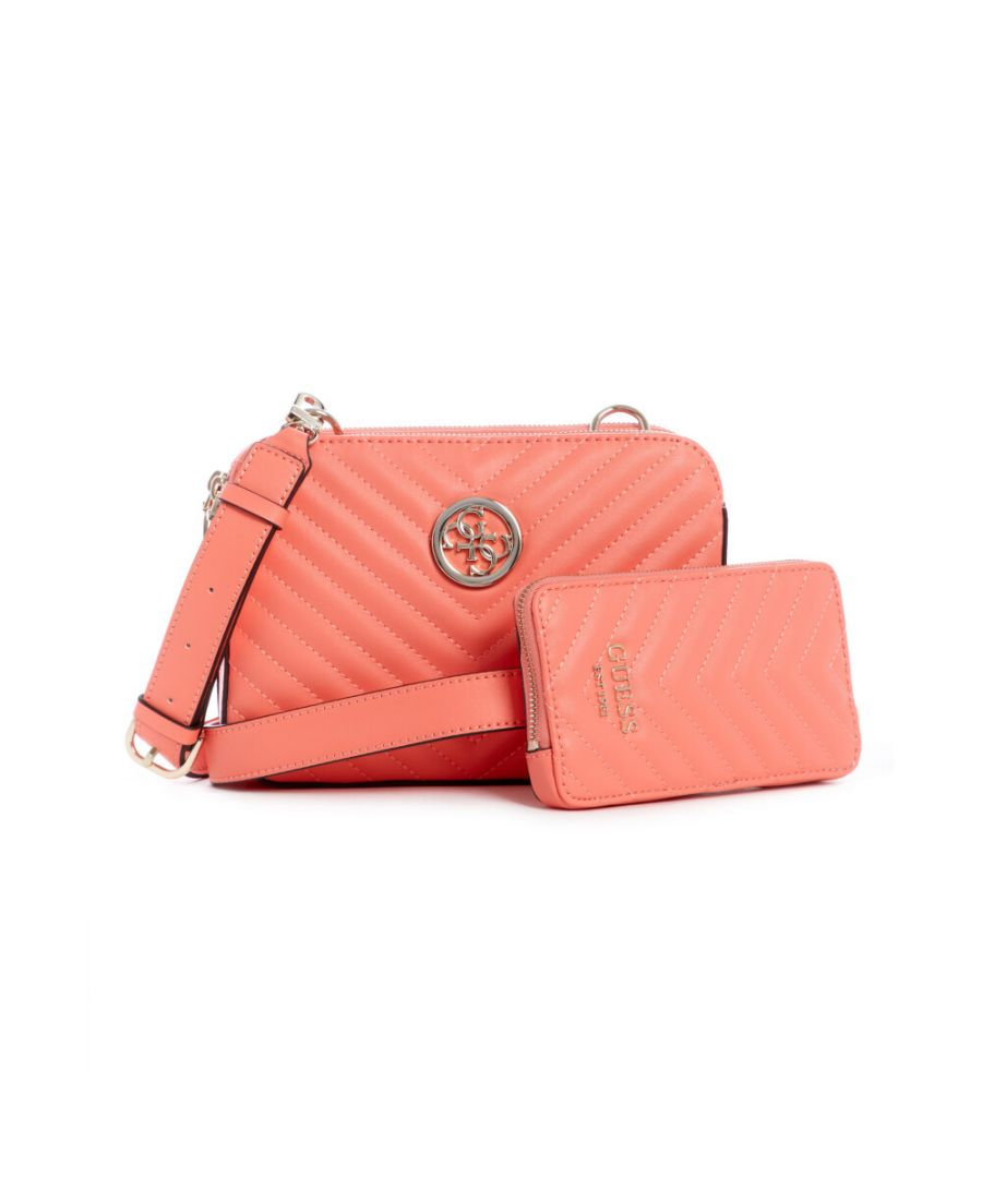 Image for Guess Women's Blakely Status Crossbody Cross Body Bag - Coral