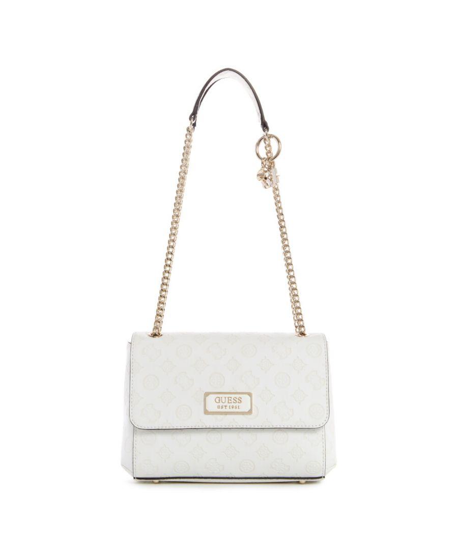 Image for Guess Women's Logo Love Convertible Crossbody Flap Cross Body Bag - Ivory