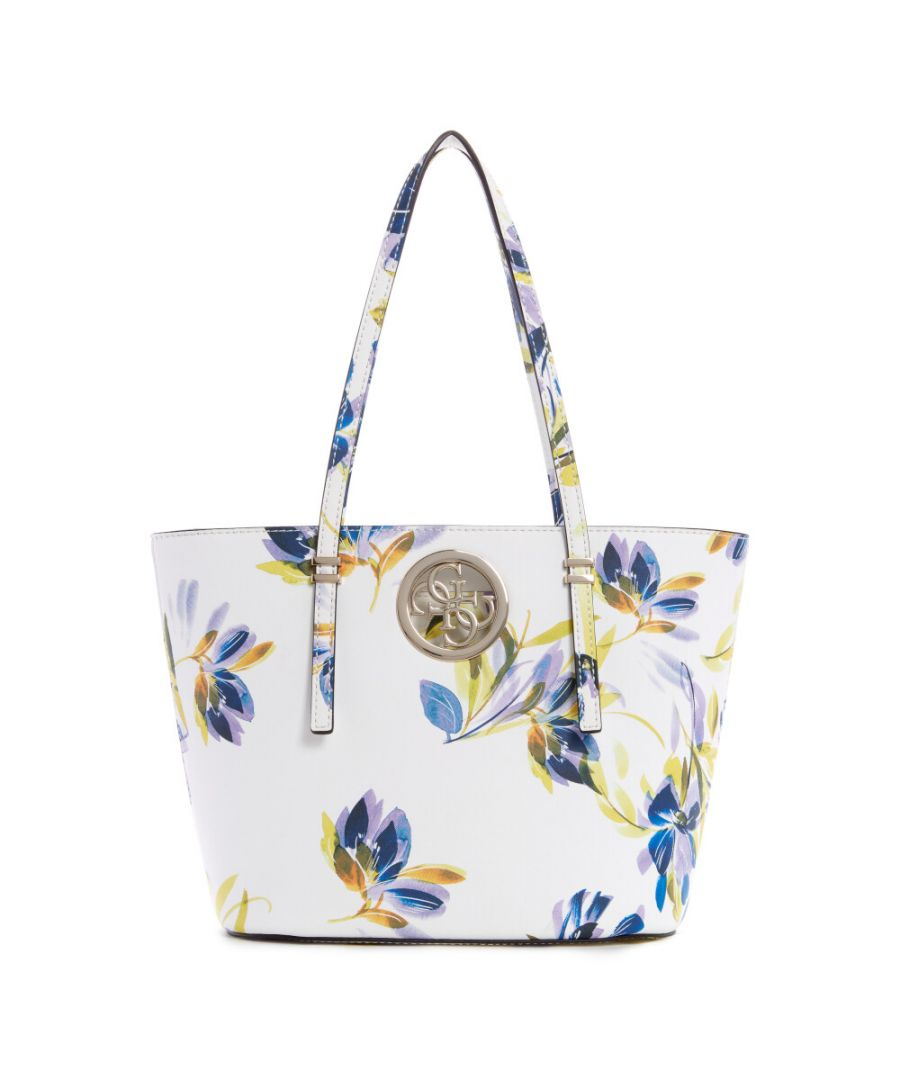 Image for Guess Women's Open Road Small Tote - White Floral