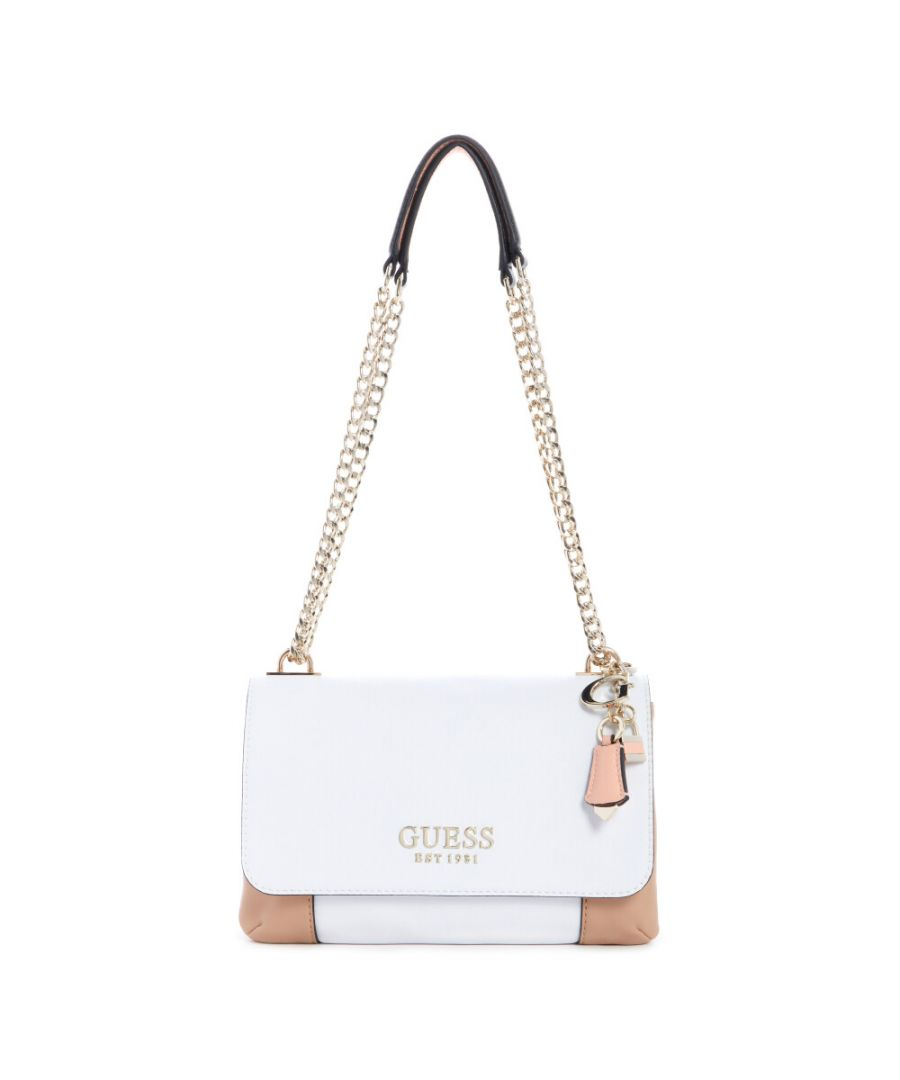 Image for Guess Women's Holly Convertible Crossbody Flap Cross Body Bag - White Multi