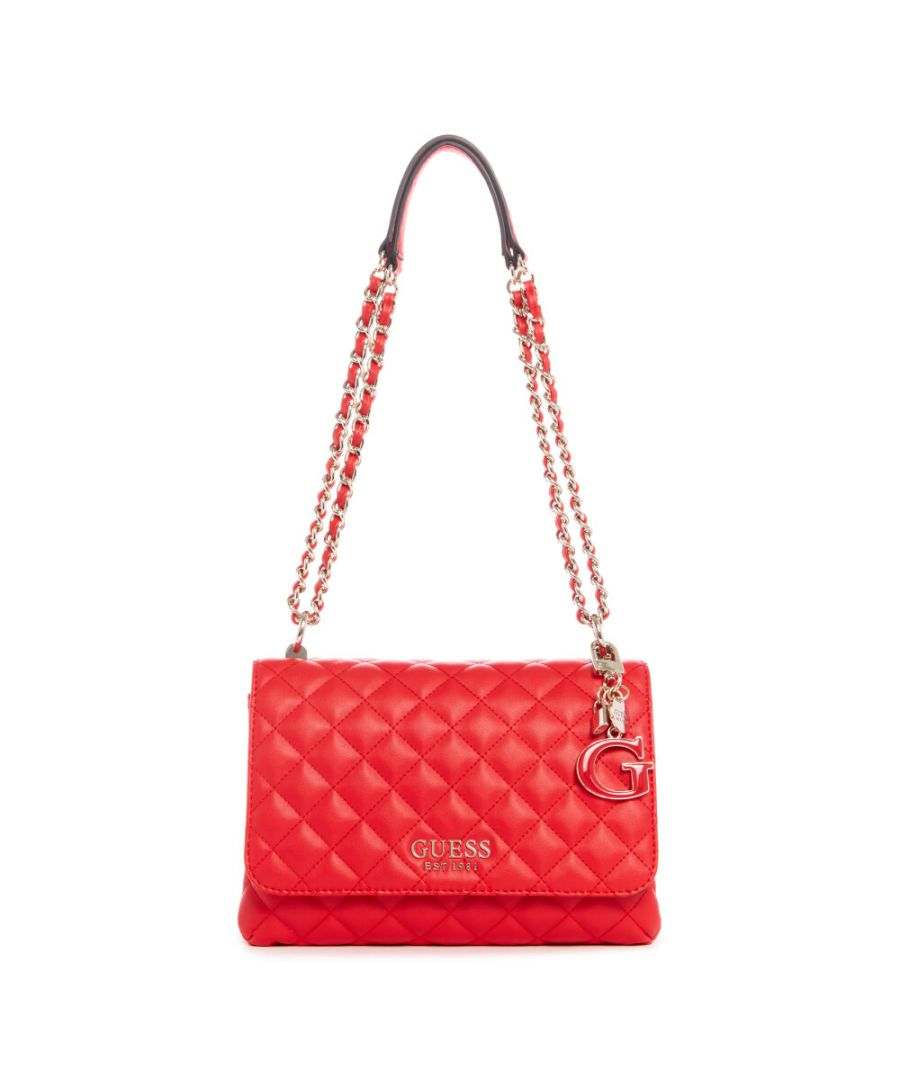 Image for Guess Women's Melise Convertible Crossbody Flap Cross Body Bag - Red