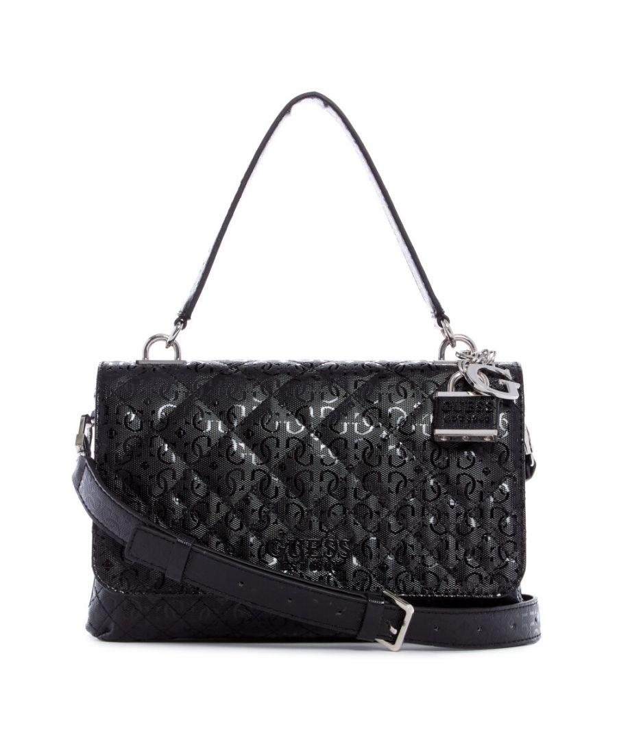 Image for Guess Women's Queenie Top Handle Flap Top-Handle Bag - Black